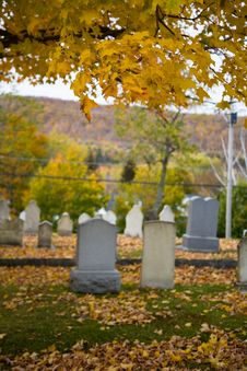 Fall In A Small Town Cemetery Stock Image