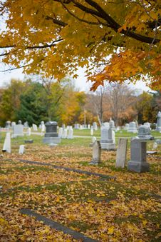 Fall In A Small Town Cemetery Royalty Free Stock Photo