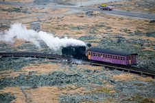 Free Tourist Train On Mt Washington In A Fall Cloudy Day Stock Photography - 1461332