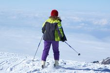 Free Woman In Skis Royalty Free Stock Images - 1462599