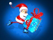 Santa Claus Skating Royalty Free Stock Photos
