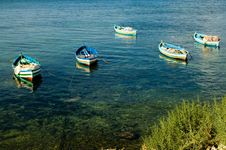 Fishing Boats At The Shore Stock Photo