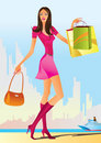 Free Fashion Shopping Girls With Shopping Bag Stock Photo - 14609540