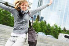 The Young Girl Makes A Jump Stock Photos