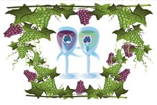 Free Glasses Of Wine And Grape Frame Royalty Free Stock Images - 14602709