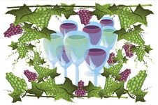 Frame With Grapes And Glasses Royalty Free Stock Photography
