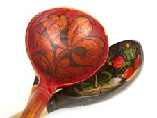 Russian Wooden Spoons Royalty Free Stock Photography
