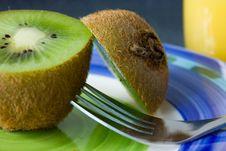 Free Kiwi, Fork And Orange Juice Stock Photography - 14604812