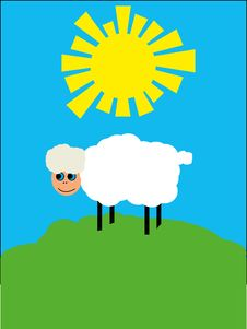 Free White Sheep On Solar Lawn Stock Photos - 14605383