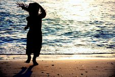 Free Kid Silhouette On Sea Background Stock Photo - 14605530