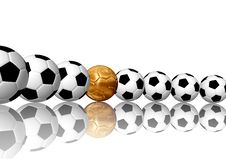 Soccer Balls In Row Stock Image