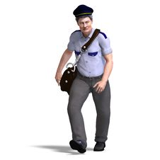 Free Funnny Postman With Hat And Letter Bag. 3D Royalty Free Stock Photo - 14606175