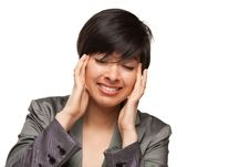 Multiethnic Young Adult Woman With Headache Royalty Free Stock Photo