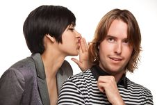 Free Attractive Diverse Couple Whispering Secrets Royalty Free Stock Image - 14606656