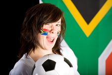 Happy Soccer Supporter, Female With Soccer Ball Stock Photos