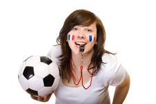 Free French Team Supporter With Whistle And Soccer Ball Stock Photography - 14607002