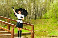 Girl With Umbrella Royalty Free Stock Photos