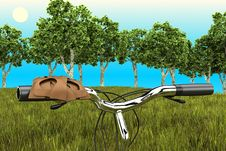 Bike On The Background Of Trees Royalty Free Stock Photos