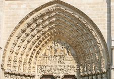Notre Dame Cathedral Main Entrance Stock Photos