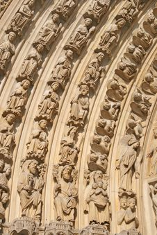 Notre Dame Cathedral Main Entrance Element Stock Image