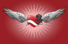 Free Red Heart With Wings Royalty Free Stock Image - 14608956