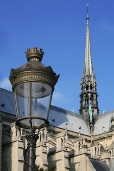 Street Lamp Against Notre Dame Royalty Free Stock Photos