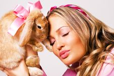 Free Portrait Of A Pretty Girl With A Rabbit Stock Photos - 14609073