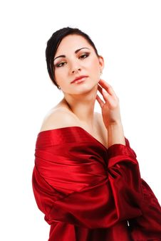 Free Sensuality Young Woman In Red Gown Stock Images - 14609264