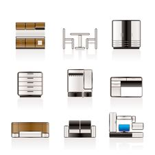 Free Furniture And Furnishing Icons Royalty Free Stock Image - 14609516