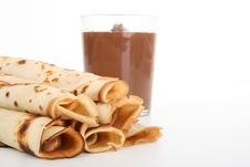 Pancakes And Chocolate Royalty Free Stock Images