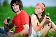 Free Boy And Girl In Kerchief With Wineglasses Royalty Free Stock Photography - 14622717
