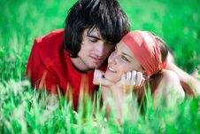 Free Boy And Nice Girl On Grass Royalty Free Stock Photo - 14622795