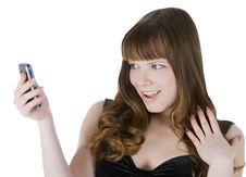 Free Picture Of Happy Brunette With Cell Phone Royalty Free Stock Image - 14622846