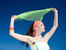 Free Girl With Kerchief On Blue Background Royalty Free Stock Images - 14622999