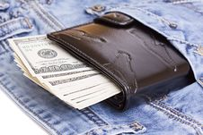 Wallet In A Jeans Pocket Royalty Free Stock Photos