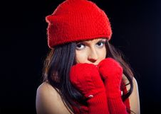 Free Beautiful Face Of Young Woman With Red Hat Royalty Free Stock Photography - 14624677