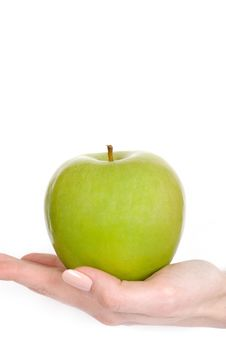 Free Green Apple In A Beautiful Hand Of Woman Royalty Free Stock Photos - 14624938
