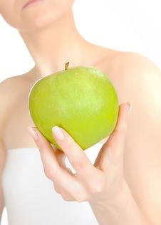 Free Green Apple In A Beautiful Hand Of Woman Stock Photo - 14624950