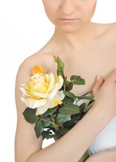 Free Beautiful Woman Holding Yellow Rose Plant Stock Photos - 14625013