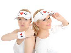 Free Two Pretty Football Fan Girls In Funny Hats Stock Image - 14625081