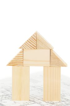 Model Of The Wooden House On The Project Royalty Free Stock Image