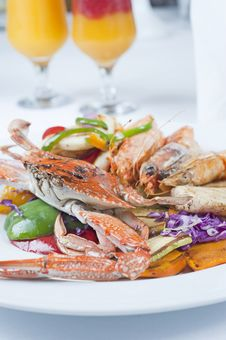 Seafood Meal Of Crab And Shrimp Stock Photos