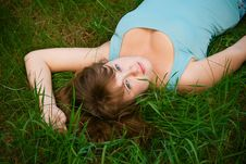 Free Woman Lying On A Grass Stock Images - 14626364