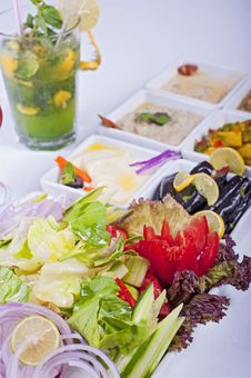 Free Selection Of Fresh Salads In A Restaurant Royalty Free Stock Photo - 14626835