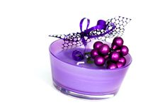Free Round Violet Candle With Ribbon,on White Stock Photos - 14627003