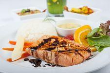 Free Salmon Steak A La Carte Stock Photography - 14627292