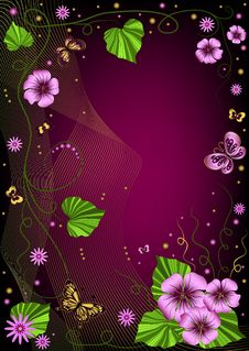 Free Decorative Dark Violet  Floral Frame Stock Images - 14627544