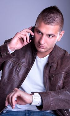 Free Young  Business Man Make A Phone Call Royalty Free Stock Photo - 14629505