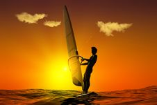 Free Sunset Surfer Royalty Free Stock Photos - 14630148