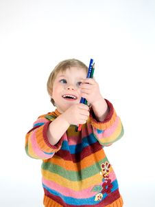 Free Young Girl With Her Pencils Stock Image - 14630411